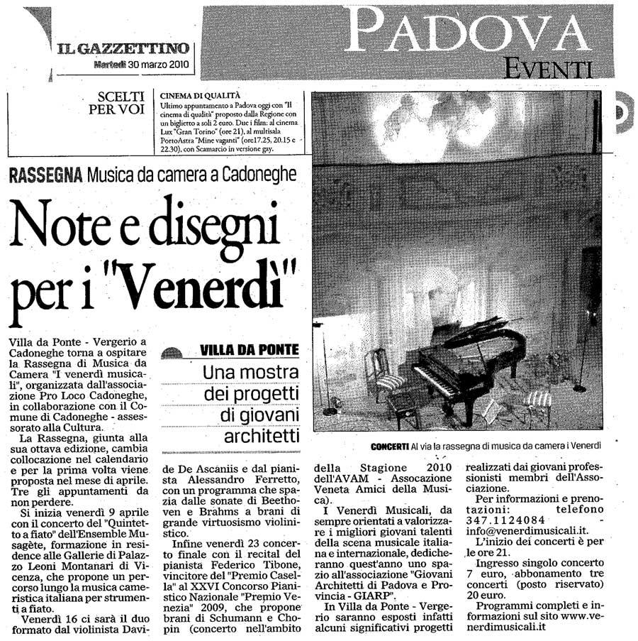 I venerd musicali rassegna di musica da camera in villa for Rassegna camera